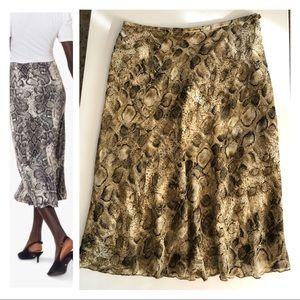 Snake print pure silk bias cut midi skirt